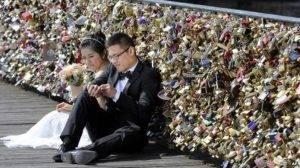 bridge showing love locks